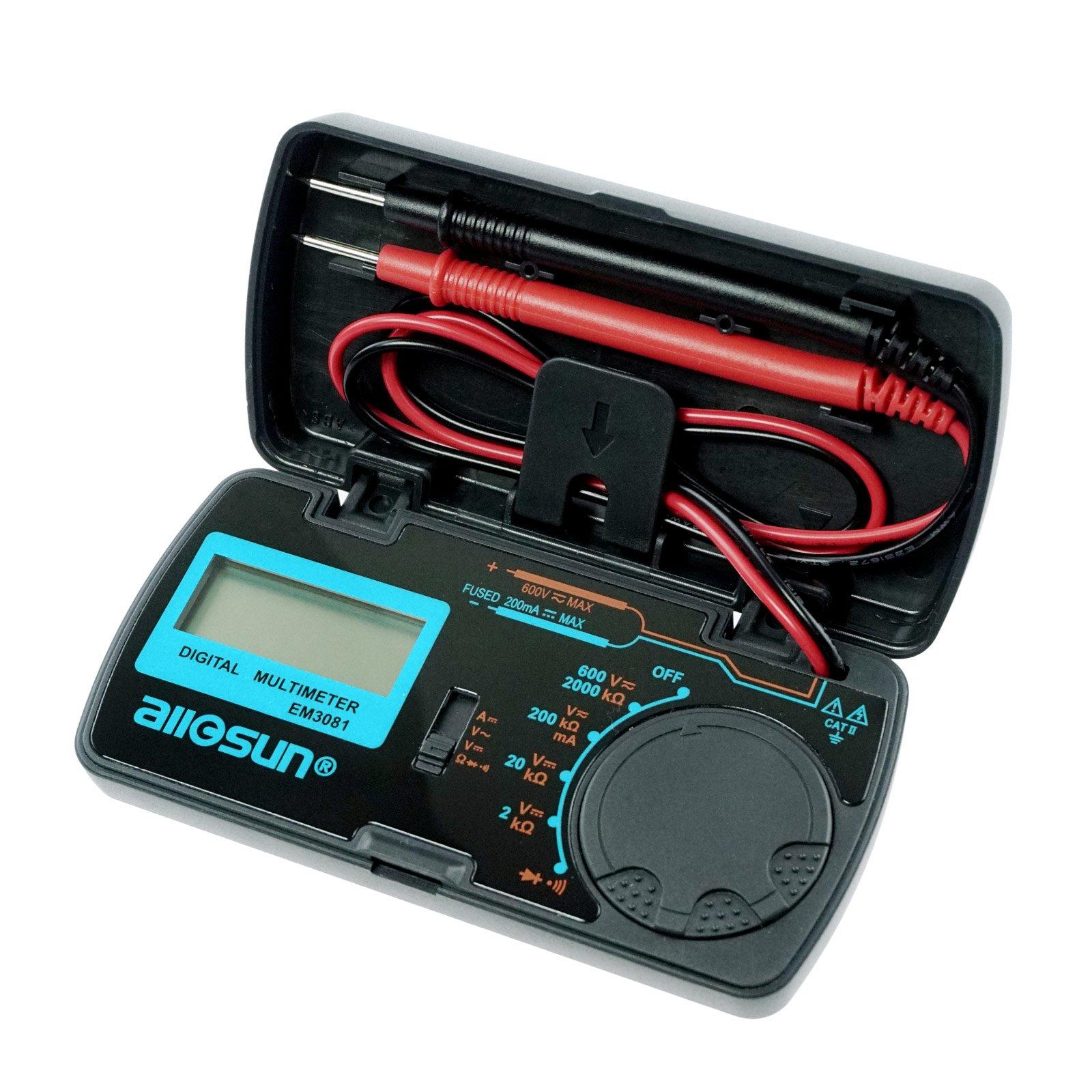 allsun Digital Multimeter Mini 6 Functions Handheld Folding Digital Multimeter 3-1 2 Digit Pocket DMM DC/AC Voltmeter DC Ammeter Ohm Continuity Diode Testing Tone Tester