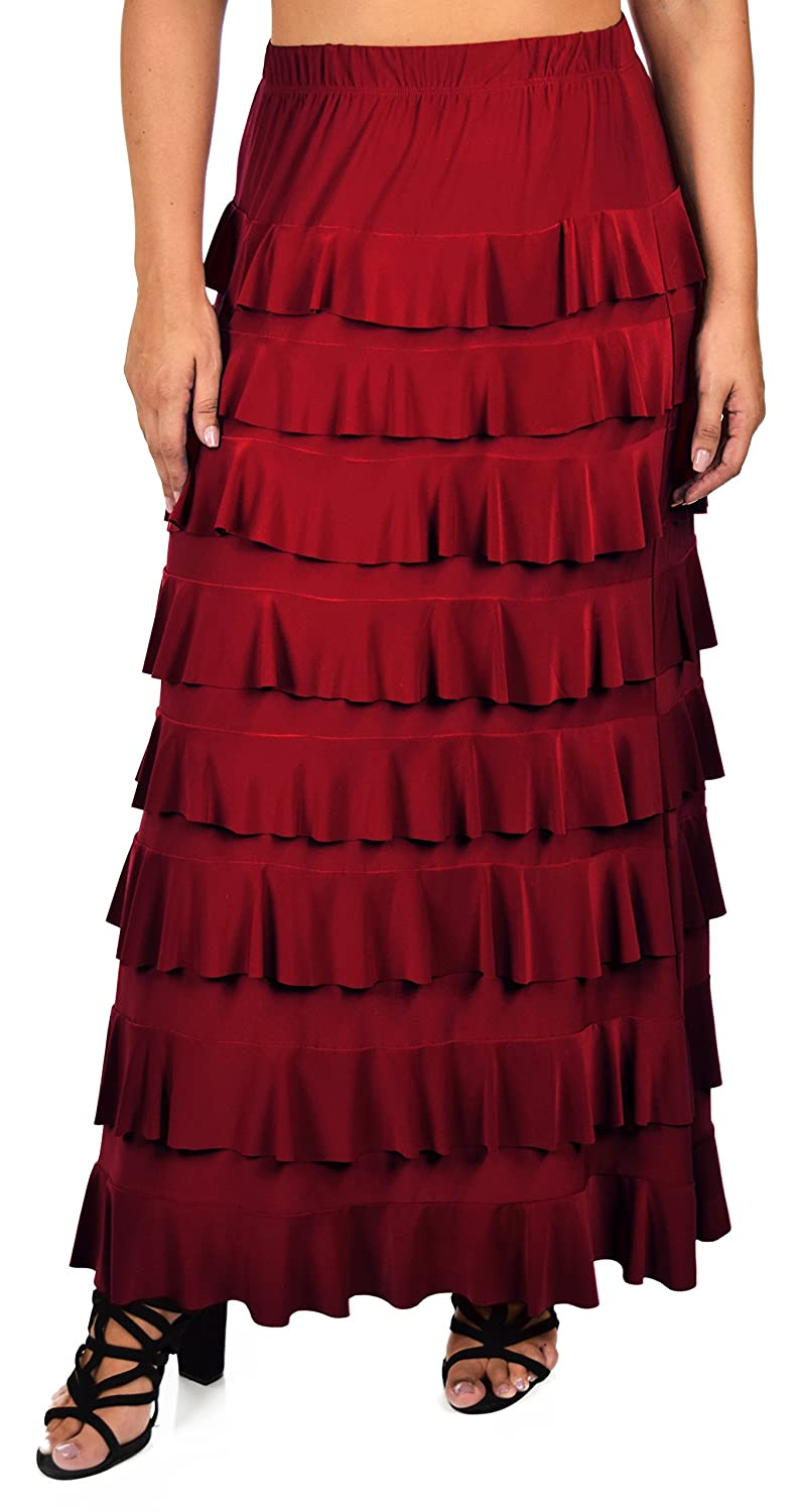 Vintage Burlesque Clothing, Costumes, Outfits Dare2BStylish Women Waterfall 8 Tiered Boho Layered Maxi Skirt | Reg & Plus Sizes $44.99 AT vintagedancer.com