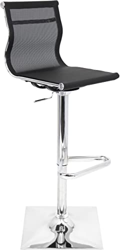 WOYBR BS-TW BK Mesh Fabric, Chrome Mirage Barstool, 47 x 17 x 15.5 , Black