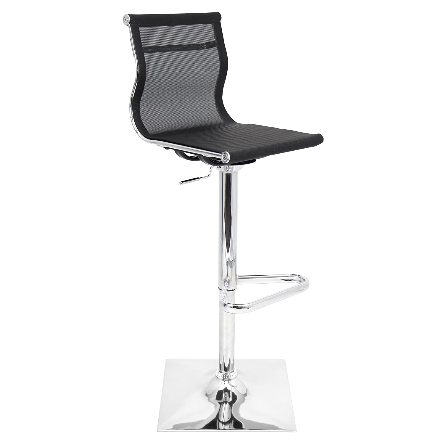 LumiSource BS-TW-MIRAGE BK Contemporary Height Adjustable Barstool in Black with Swivel