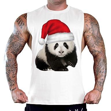 a745e816f Interstate Apparel Men's Christmas Hat Panda Tee B12 Ply White T-Shirt Tank  Top Small
