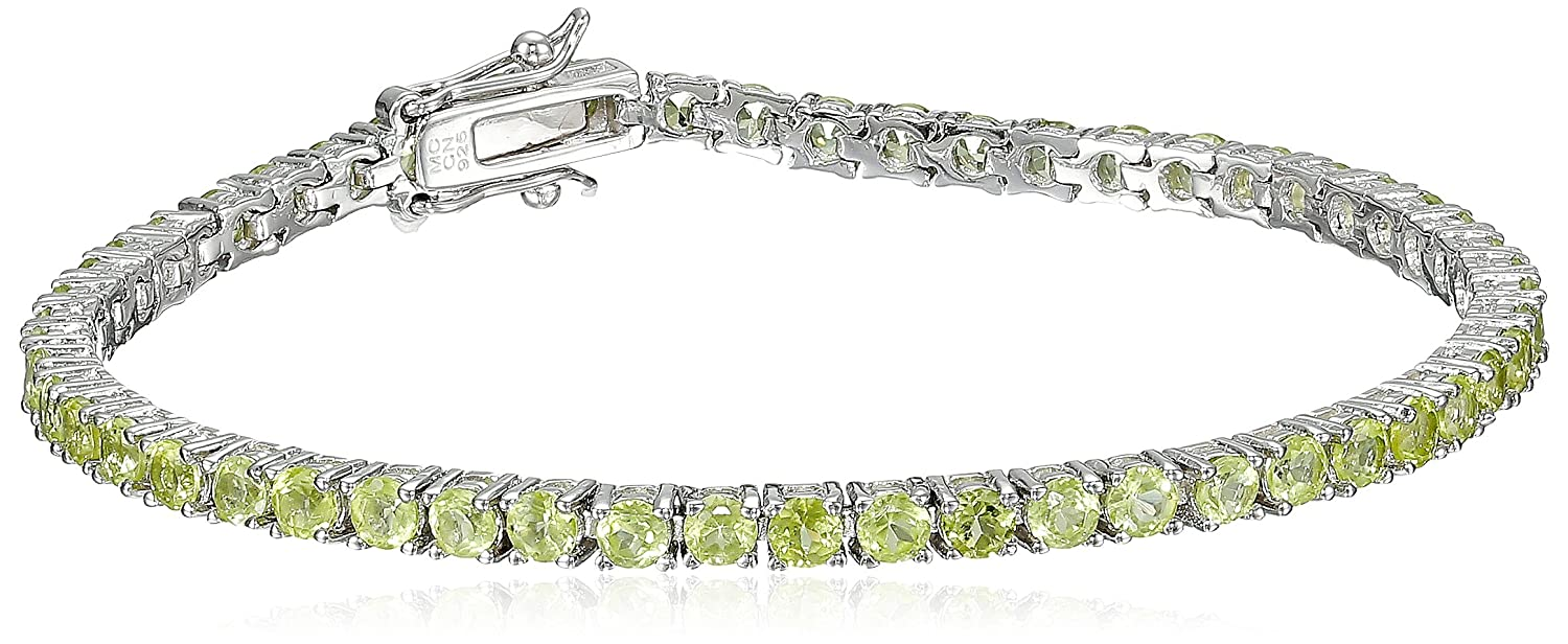 Gemstone Round Cut Tennis Bracelet in Sterling Silver (3mm) Amazon Collection MCB1292W-AMY