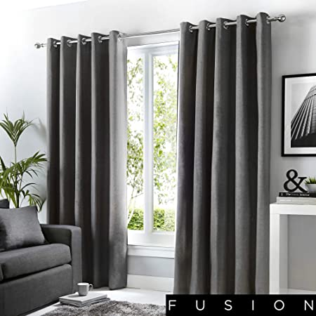 Fusion Sorbonne 100 Cotton Pair Of Eyelet Curtains 66