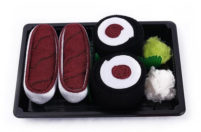 Sushi caja de calcetines - 2 pares - Atún, Maki atún talla UK 7 - 11, EUR 41 - 46: Amazon.es: Ropa y accesorios