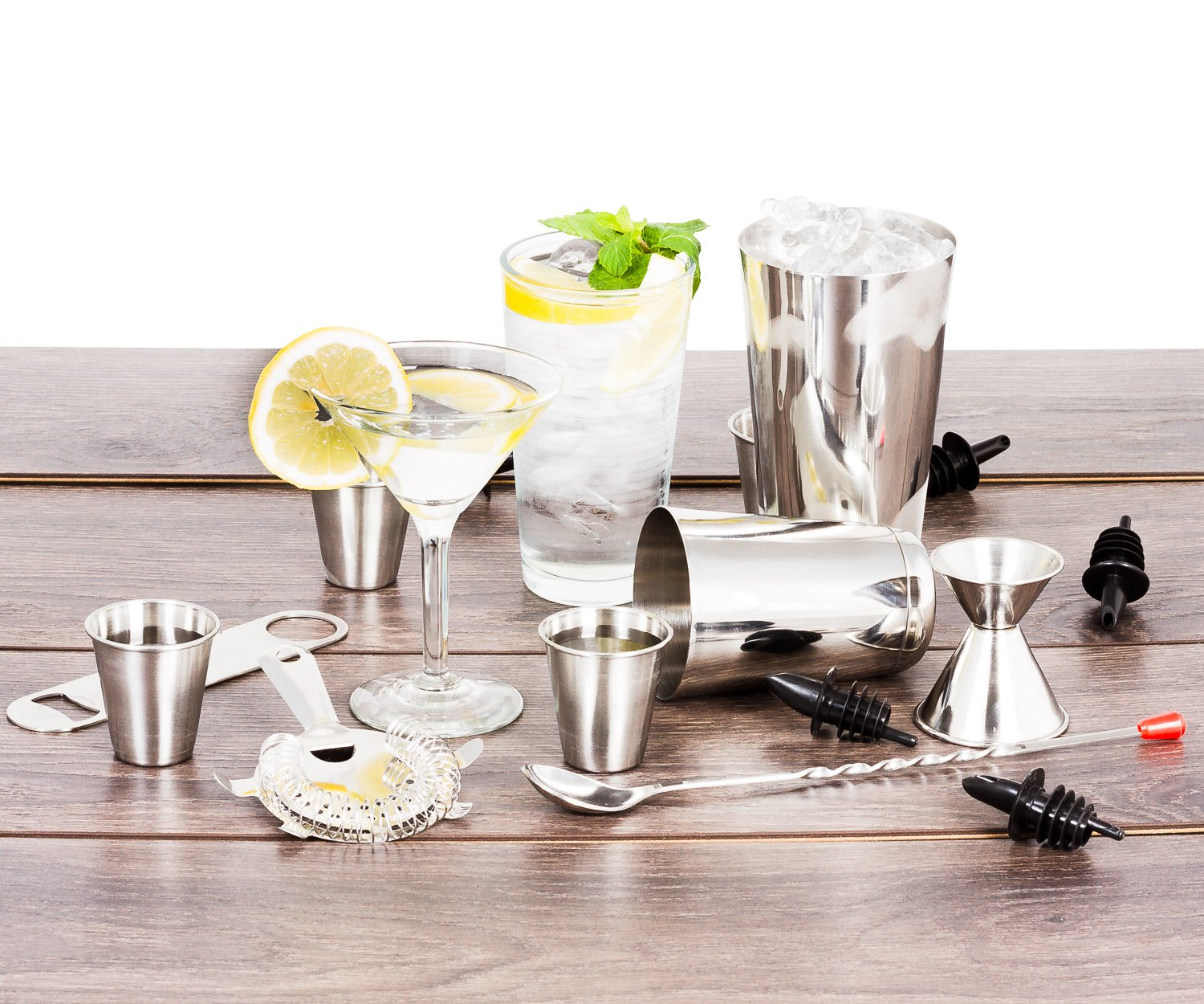 16 Pcs Cocktail Shaker Home Bar Set – Complete Bartender Kit with Double Bar Jigger, Pour Spouts, Drink Shaker, Hawthorne Strainer, Bar Spoon, Bottle Opener and Tin Shot Glasses by Lexi Home (Image #2)