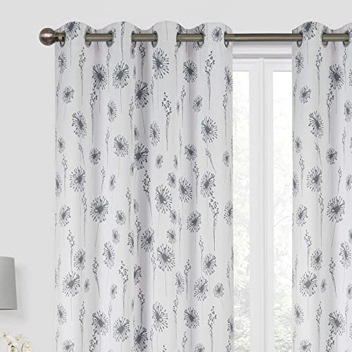 Annlaite Dandelion Floral Flower Black Out Thermal Insulated Grommet Window Curtains 2 Panels Each 52 Inch by 84 Inch Gray