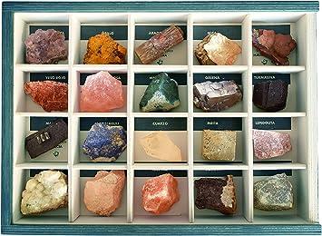 Colección de 20 Minerales del Mundo en Caja de Madera Natural - Minerales Reales educativos de Gran tamaño con Hoja de descripción. Kit Geología para niños: Amazon.es: Juguetes y juegos