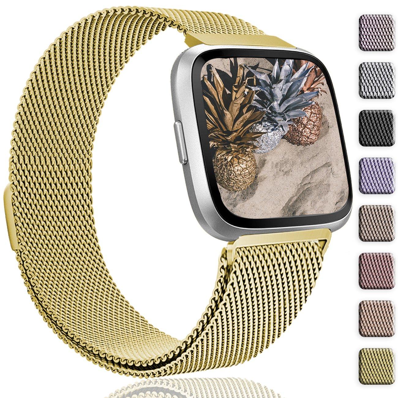 Wepro Fitbit Versaバンド交換用forレディースメンズSmall Large , Milanese Loopステンレススチールメタルブレスレットストラップwith UniqueマグネットロックアクセサリーWristbands for Fitbit Versa Smart Watch B07BM72D6Y #08-Gold Large 6.7\