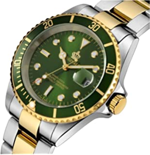 MASTOP Fashion Mens GMT Watch Rotatable Bezel Green Dial Quartz Stainless Steel Gold Band Wrist Watch