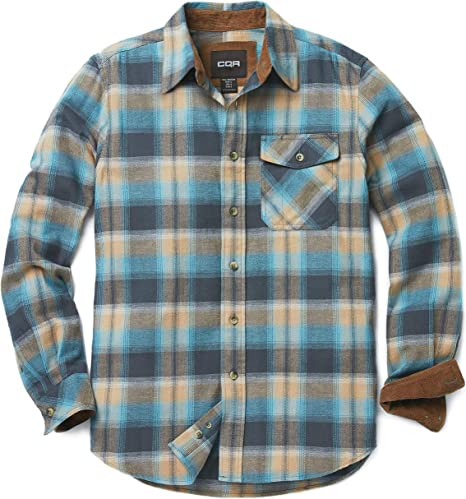 Cqr Men's Flannel Long Sleeved Button Up Plaid 100 Percents Cotton Brushed Shirt by Cqr