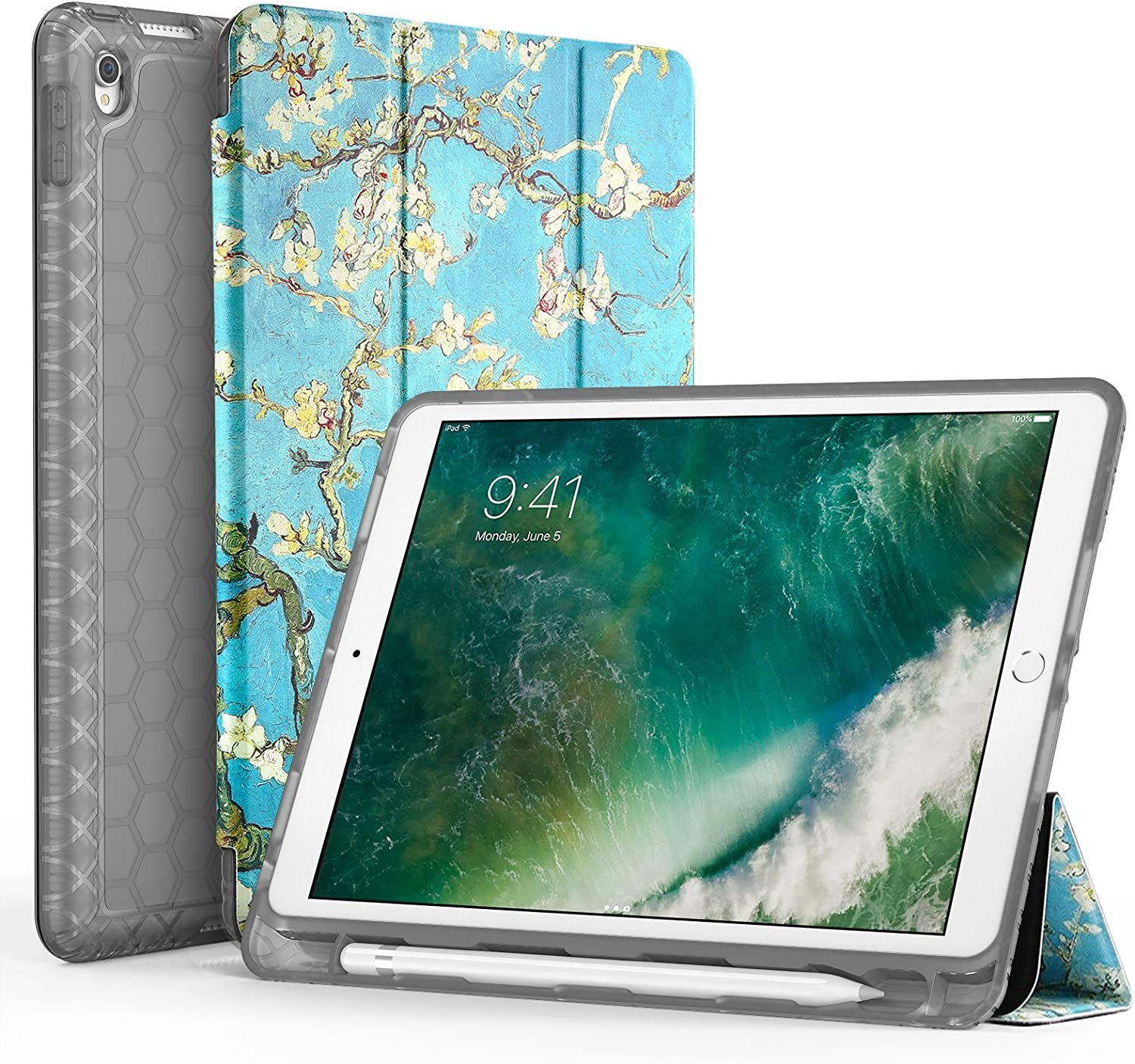 """SWEES Compatible with iPad Air (3rd Gen) 10.5"""" 2019 / iPad Pro 10.5 2017 Case, Slim Full Body Protective Smart Cover Leather Case Shockproof with Stand Built-in Pencil Holder (S - Blossom)"""