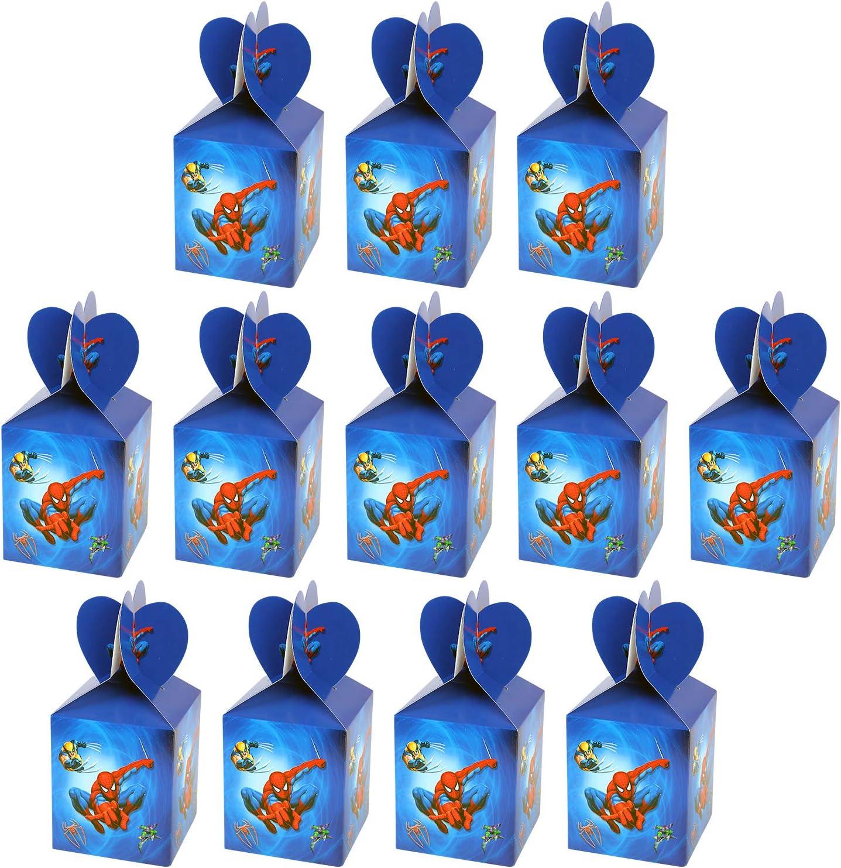 Qemsele Cajas De Fiesta Bolsas de cumpleaños, 12Pcs Regalo Cajas, Cajas de Caramelo Tema Reutilizable Bolsas de Fiesta Bolsas para cumpleaños niños la Fiesta favorece la Bolsa Fiesta (Spiderman)