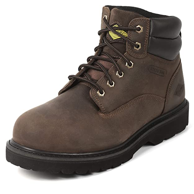 "6"" Steel Toe Work Boots - Timberland Style - Oil Slip Resistant - Dark Brown (10)"
