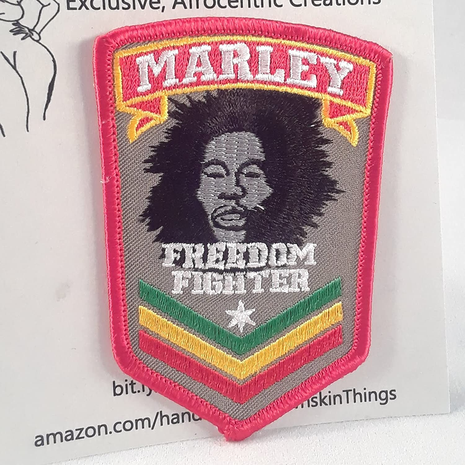 3.50 x 2.50 inches Iron On Marley Freedom Fighter Shield Patch Embroidery