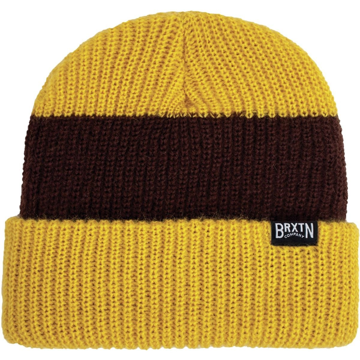 fbd86697c97 Brixton Langley Stripe Beanie in Mustard Brown