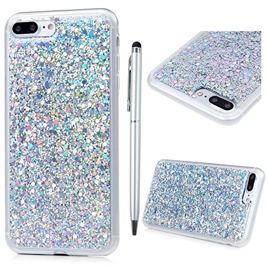 """4 opinioni per Cover iPhone 7 Plus Silicone 5.5"""", Custodia Morbido TPU e Bling Glitter Strass"""