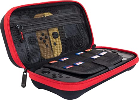 ButterFox Deluxe Nintendo Switch Travel Bag Case with Storage Room for Official AC Adapter and 9 Game Card Slots - Red/Black: Amazon.es: Videojuegos