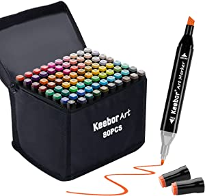 Keebor Advanced 80+1 Colors Dual Tip Alcohol Art Markers, Plus 1 Blender Marker with Thick Packing, General Markers for Fine Arts Academy