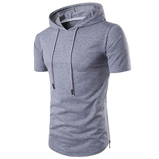 63c38cffa Manwan walk Men's Hipster Hip Hop Longline Side Zipper Hooded T-Shirt T74 (X