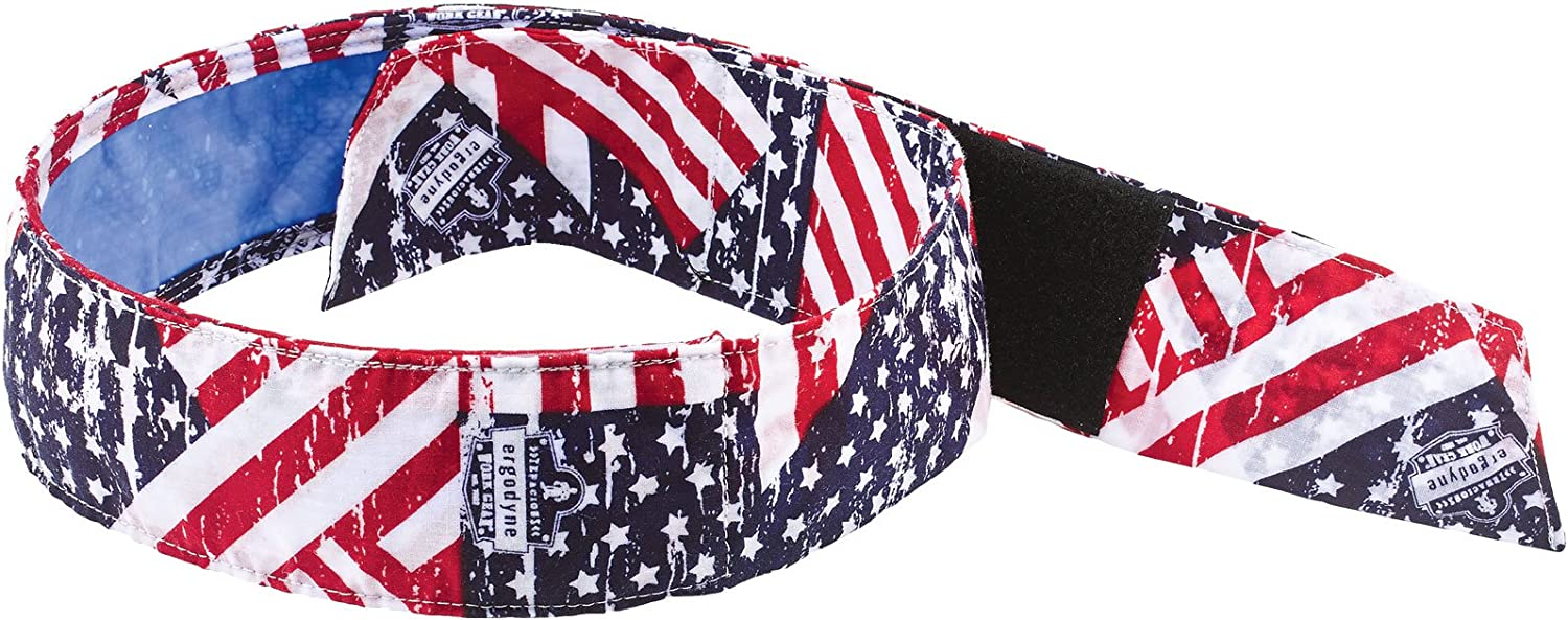 Cooling Bandana, Stars& Stripes, Lined with Evaporative PVA Material for Fast Cooling Relief, Quick and Secure Fit, Ergodyne 6705CT