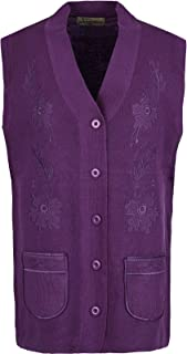 Maan Store Ladies Knitted Waistcoat Embroidery Front Pockets V Neck Button Closure