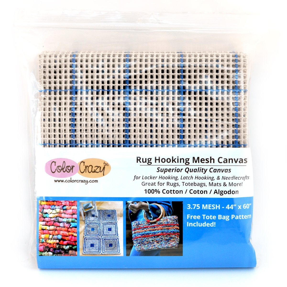 Rug Hooking Mesh Canvas - 3.75 Mesh (44 x 60) with Free Pattern Color Crazy