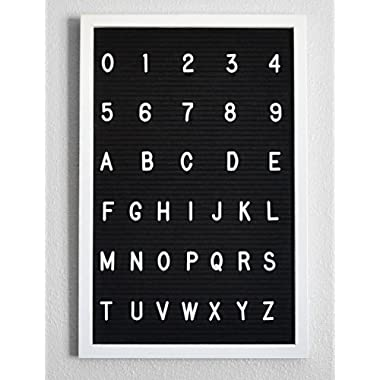 """Black Felt Letter Board for Restaurants and Offices (12"""" x 18"""") with 500+ Changeable Letters and Numbers (White Border)"""