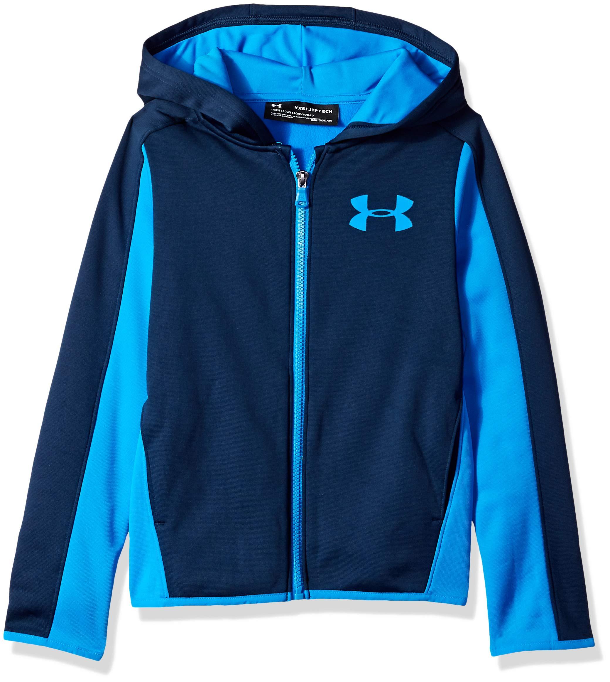 Under Armour Boys Armour Fleece Full Zip, Academy (408)/Blue Circuit, Youth X-Small