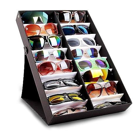 Vitrina para gafas de sol- Caja de almacenamiento de 16 ranuras para gafas de lectura, joyas, relojes- Estuche de exhibición- Organizador de joyas- ...