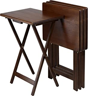Winsome Wood Snack Table Antique Walnut Finish Set of 4  sc 1 st  Amazon.com & Amazon.com: 5 Piece Tray Table Set Folding Wood TV Game Snack Dinner ...
