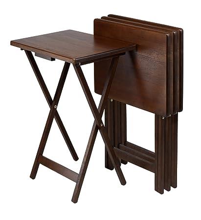 Amazon.com: Winsome Wood TV Table, Antique Walnut Finish, Set of 4 ...
