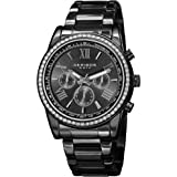 Akribos Multi-Function Swarovski Crystal Accented Steel Bracelet Watch - Three Hand Movement with Two Time Zones and…