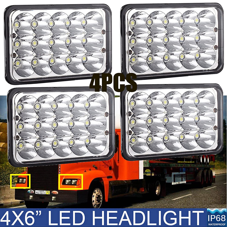 4 x 6 LED Faros delanteros para camiones Kenworth Peterbilt 378 357 379 - rectangular cuadrado transparente sellado de carretera ...