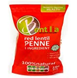 Bentilia Lentil Pasta, Red Lentil Penne - 1 lb, Bag; 100% Natural, Low Glycemic Index, High Protein & Fiber, Non-GMO, Gluten Free Pasta