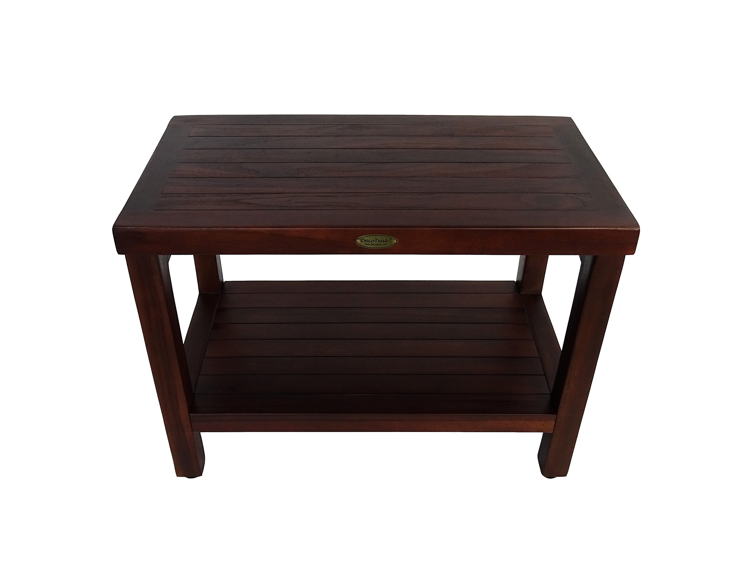 24'' Teak Shower Bench With Shelf- Adjustable Height Feet- Bath, Shower, Sauna, Locker Room
