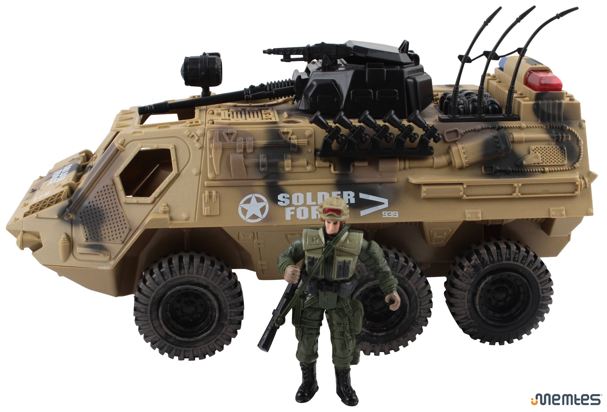 Memtes Military Fighter Army Truck Tank Toy with Mini Army Soldier with Lights and Sound by Memtes (Image #2)