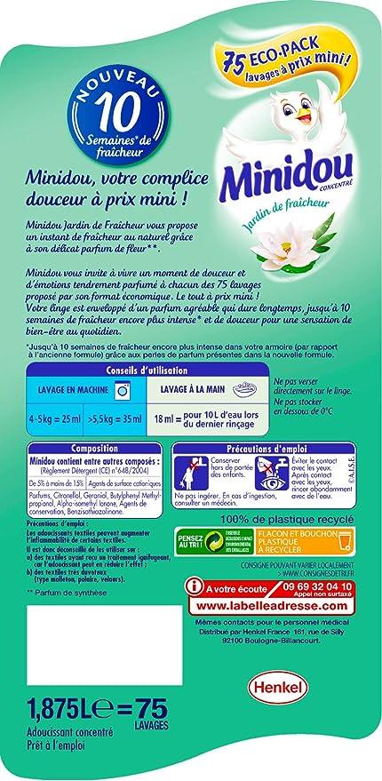 Minidou Jardin De Fraicheur Adoucissant Lot De 2 X 1 875l 150