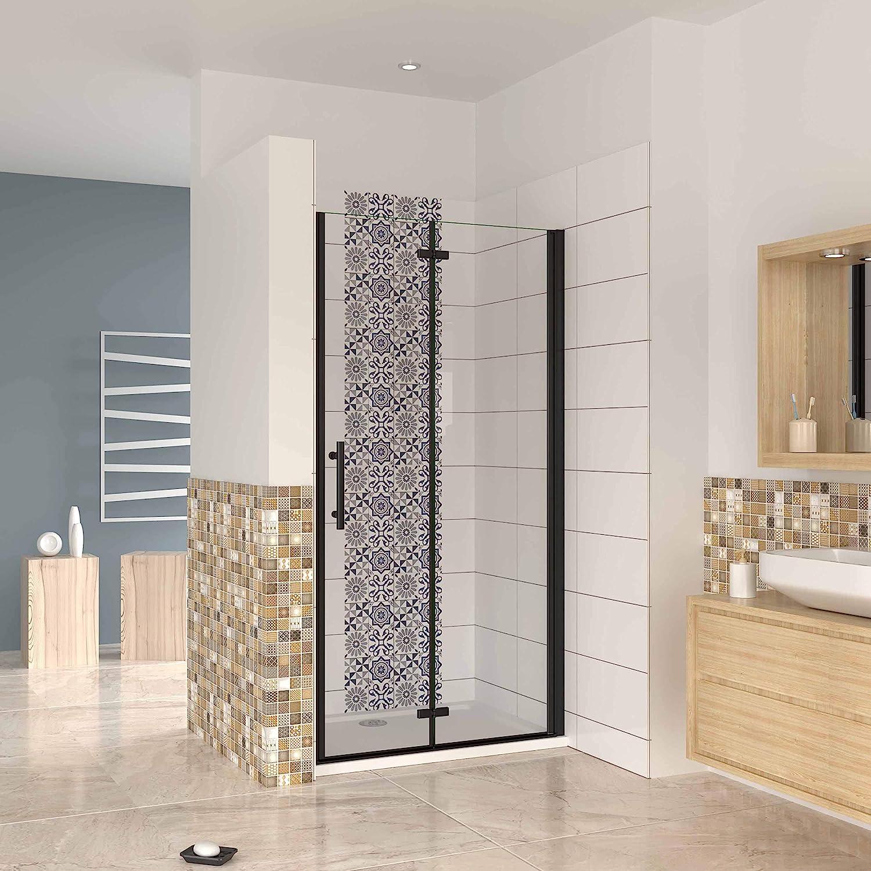 Mampara ducha frontal baño dos puerta plegable con perfil negro,estilo industrial, 5 mm cristal templado, Easyclean,100x190cm