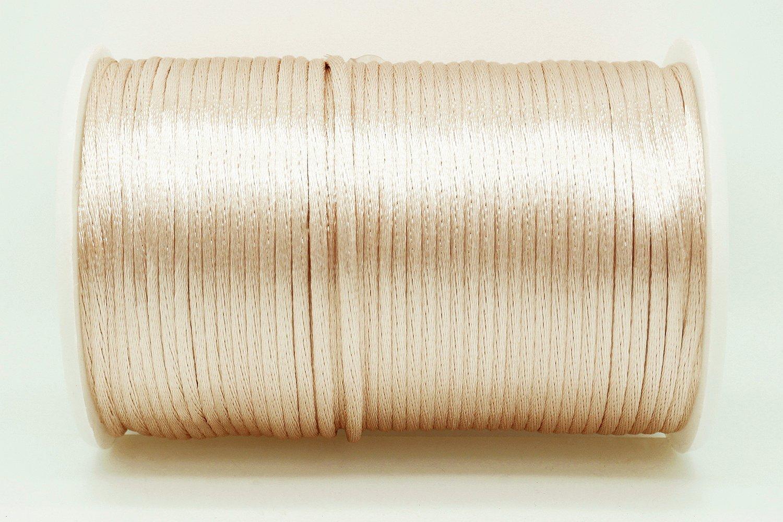 KHAKI 2mm Rattail Satin Cord Shamballa Macrame Beading Nylon Kumihimo String (100yards Spool)