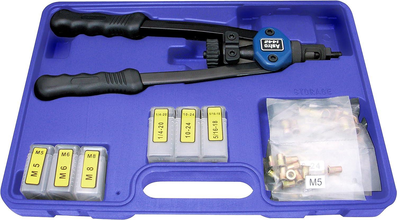 Metric /& SAE W// 60pc Rivnuts Pack of 2 Astro Pneumatic Tool 1442 13 Hand Rivet Nut Setter Kit