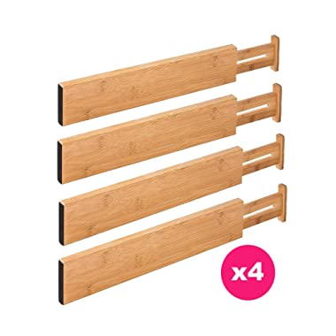 RAPTUROUS Bamboo Kitchen Drawer Dividers – Pack of 4 Expandable Drawer Organizers with Anti-Scratch Eva Foam Edges – Adjustable Drawer Organization Separators for Kitchen, Bedroom, Bathroom & Office