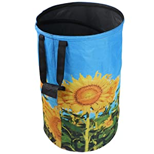 FLORA GUARD 32 Gallon Garden Bag - Reusable Pop-up Gardening Bag, Sun Flower Print Collapsible Canvas Portable Yard Waste Bag