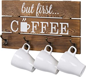 MyGift 8-Hook Rustic Dark Brown Wood But First Coffee Sign and Mug Holder