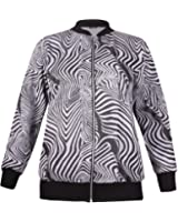 Womens Plus Size Floral Aztec Printed Ladies Long Sleeve Bomber Jacket Long Top