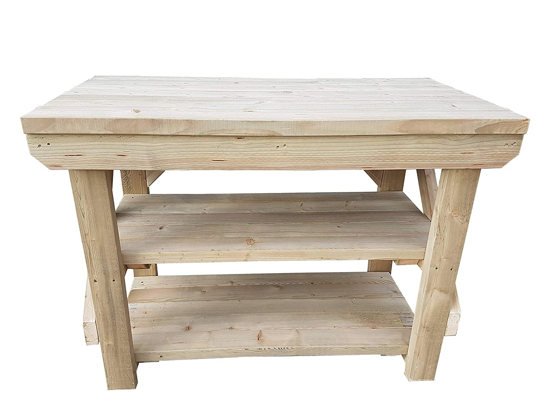 GMS TIMBER LTD Workbench With Double Shelf Indoor / Outdoor - Pressure Treated - Heavy Duty - Handmade Garage Workshop Work Table (10FT)