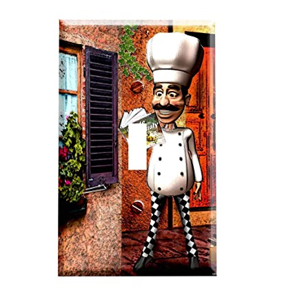 Italian Chef Switchplate Switch Plate Cover Fat Chef Kitchen
