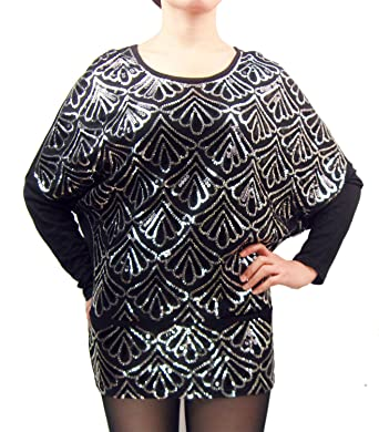 f54921cb63a31 Amazon.com  Vintage Sequin 70s 80s Oversized Disco Party Top Shirt Blouse  Funcy Dress Wear  Clothing