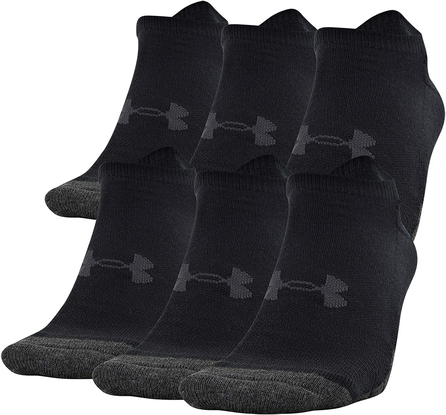 Under Armour Adult Performance Tech No Show Socks, 6-pairs: Clothing