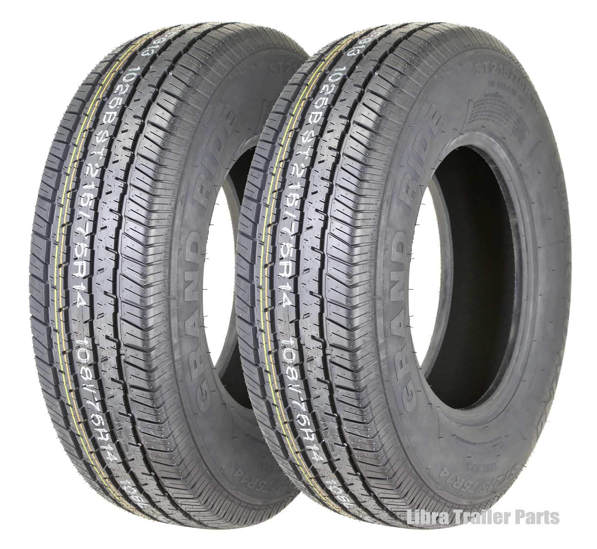 2 New Premium Grand Ride Trailer Tires ST 215/75R14 8PR Load Range D - 11060 …