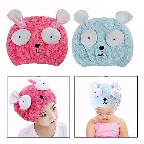 secador de Toallas de Secado rápido para niñas Cute Envoltura de Cabello Hat Secado Toalla de